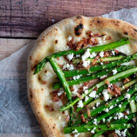 Asparagus, Bacon & Feta Pizza