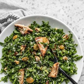 Kale Salad with Toasted Pita and Parmesan