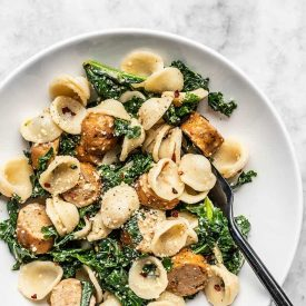 Spicy Orecchiette with Chicken Sausage and Kale