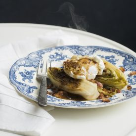 Braised Endive with Bacon and Mustard Sauce