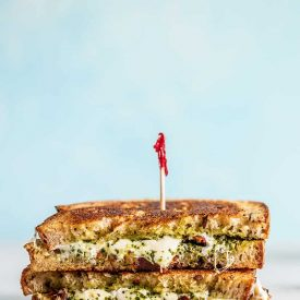 Pesto Grilled Cheese with Sun Dried Tomatoes