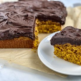 Pumpkin Snacking Cake with Chocolate Frosting