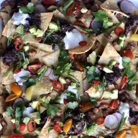 Vegetarian Party Nachos with Quick Pickled Fresno Chiles