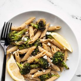 Roasted Broccoli Pasta with Lemon and Feta