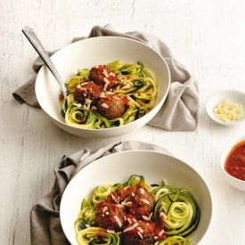 Keto Zoodles and Spicy Meatballs