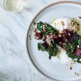 Kale Salad with Burrata and Roasted Beets