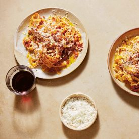 Fettuccine with Tomato Butter Sauce and Feta