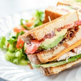 Ultimate Turkey Club Sandwich with Garlic Aioli